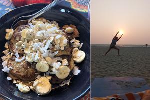 Indisk mat och solnedgång